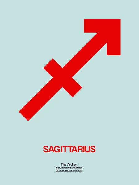Wall Art - Digital Art - Sagittarius Zodiac Sign Red by Naxart Studio
