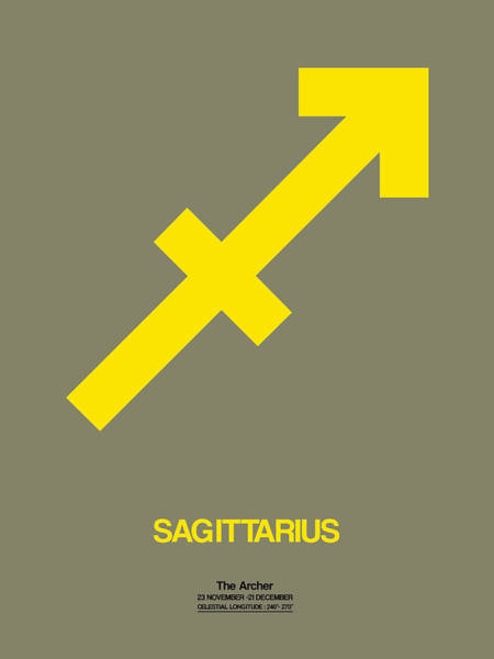 Taurus Digital Art - Sagittarius Zodiac Sign Yellow by Naxart Studio