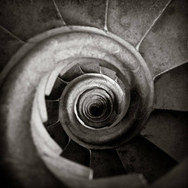 Mono Photograph - Sagrada Familia Steps by Dave Bowman