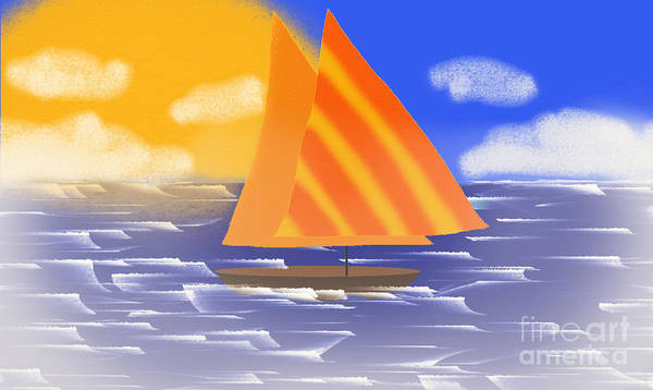 Digital Art - Sail Away On A Foggy Day  by Andee Design