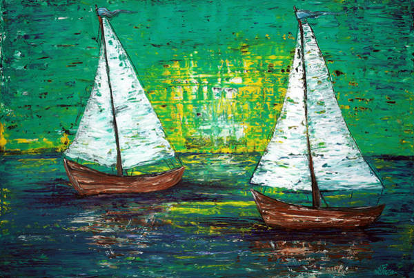 Impressionistic Sailboats Painting - Sail Away With Me by Laura Barbosa