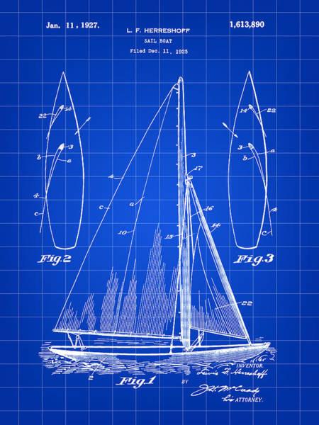 Schooner Digital Art - Sail Boat Patent 1925 - Blue by Stephen Younts