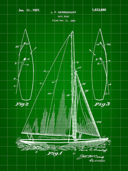 Schooner Digital Art - Sail Boat Patent 1925 - Green by Stephen Younts
