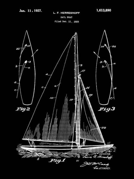 Schooner Digital Art - Sail Boat Patent 1925 - Black by Stephen Younts