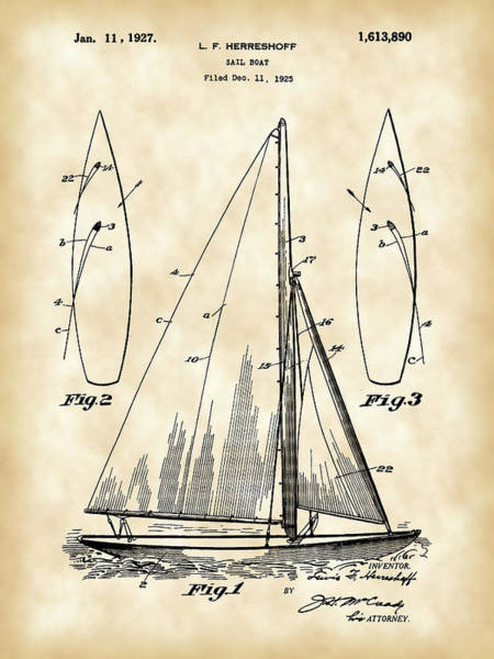 Wall Art - Digital Art - Sail Boat Patent 1925 - Vintage by Stephen Younts