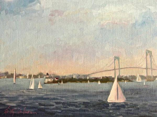 Newport Ri Wall Art - Painting - Sail By Rose Island Newport Ri by Betty Ann Morris