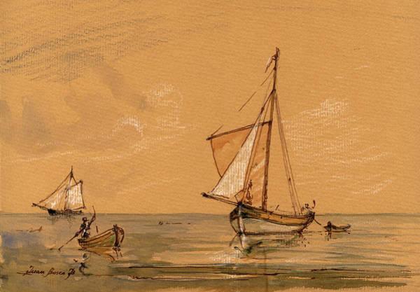 Pirates Painting - Sail Ship by Juan  Bosco