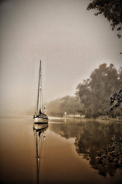 Conyers Photograph - Sailbaot In The Fog by Dale Conyers