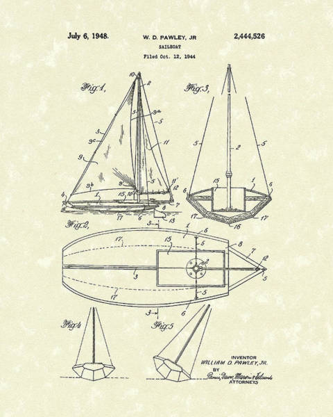 Wall Art - Drawing - Sailboat 1948 Patent Art by Prior Art Design