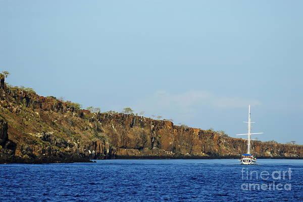 North Seymour Island Photograph - Sailboat Along Island Coastline by Sami Sarkis