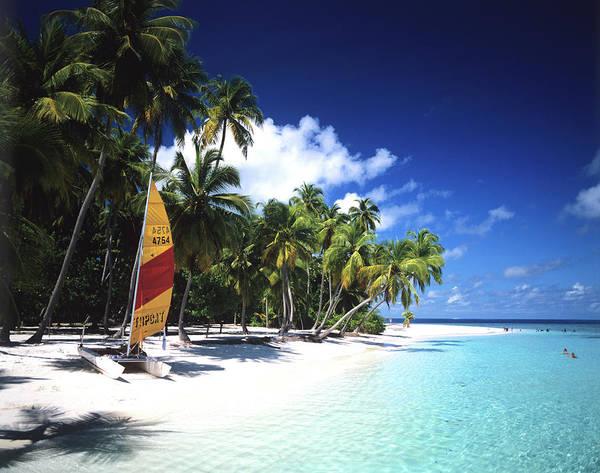 Beach Holiday Photograph - Sailboat At A Beach Of Maldives by Adina Tovy