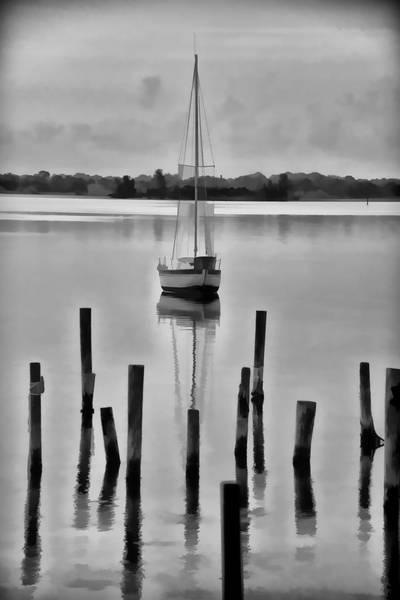 Blye Photograph - Sailboat At Anchor by Kenneth Blye