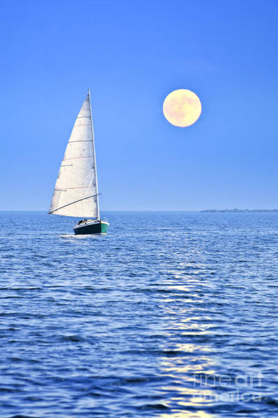 Blue Water Photograph - Sailboat At Full Moon by Elena Elisseeva