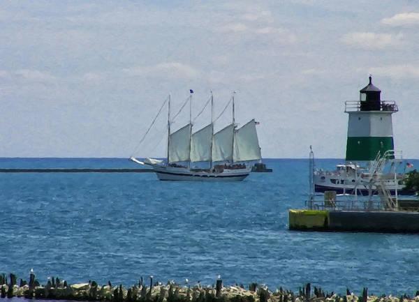 Digital Art - sailboat on Lake Michigan by Chris Flees
