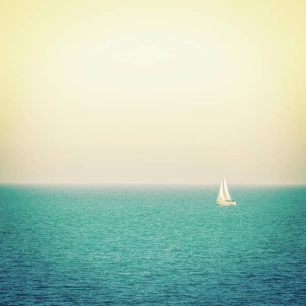 Recreational Boat Photograph - Sailboat On The Sea, Italy by Zodebala