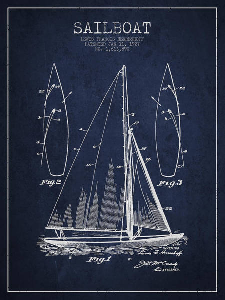 Boats Wall Art - Digital Art - Sailboat Patent Drawing From 1927 by Aged Pixel