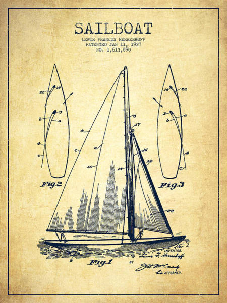 Sails Digital Art - Sailboat Patent Drawing From 1927 - Vintage by Aged Pixel