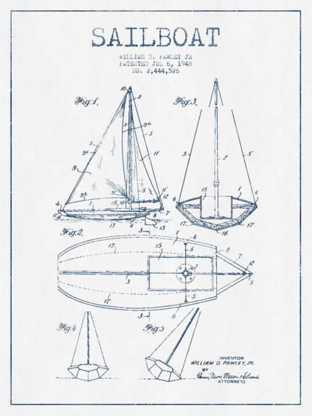 Wall Art - Digital Art - Sailboat Patent Drawing From 1948  -  Blue Ink by Aged Pixel
