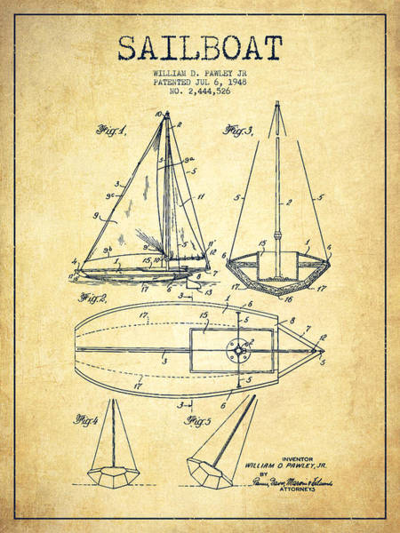 Sails Digital Art - Sailboat Patent Drawing From 1948 - Vintage by Aged Pixel