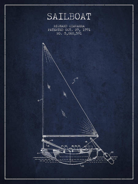 Intellectual Photograph - Sailboat Patent From 1991- Navy Blue by Aged Pixel