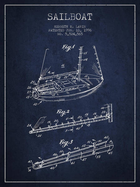 Intellectual Photograph - Sailboat Patent From 1996 - Navy Blue by Aged Pixel
