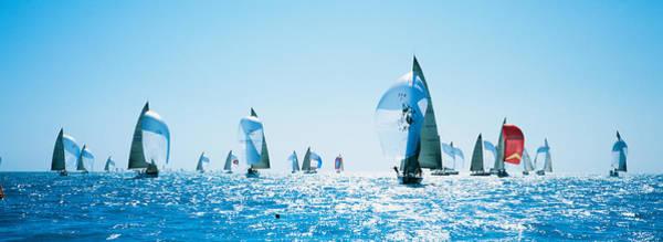 Racing Yacht Photograph - Sailboat Race, Key West Florida, Usa by Panoramic Images