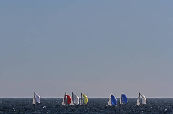 Photograph - Sailboat Regatta Off The Coast In Newport Rode Island by Juergen Roth