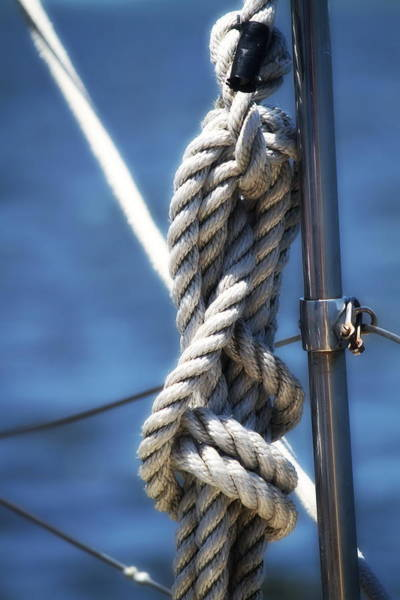 Screw Pile Wall Art - Photograph - Sailboat Rope by Cathy Lindsey