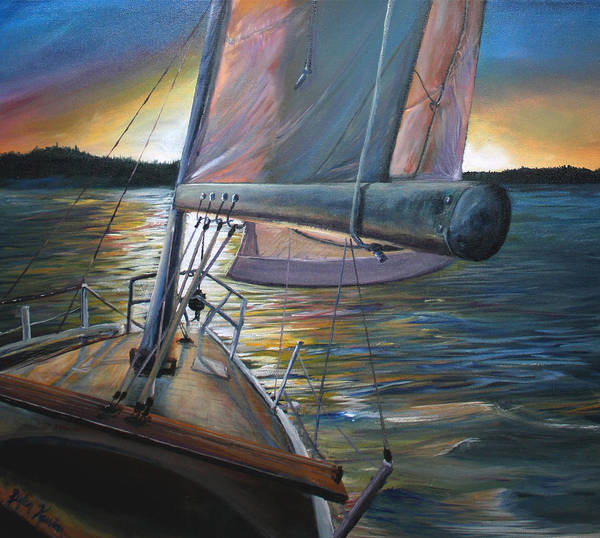 Oceanscape Wall Art - Painting - Smooth Sailing by Stefan Kaertner