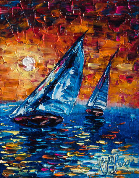Painting - Sailboat Sunset  by OLena Art - Lena Owens