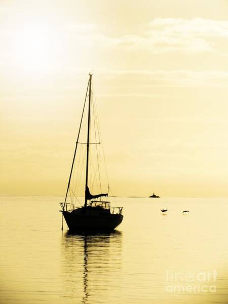 Photograph - Sailboat With Sunglow by Barbara Henry