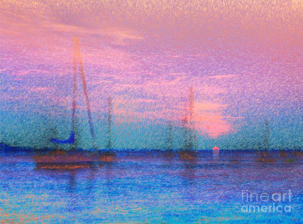 Photograph - Sailboats At Sunset by Jeff Breiman