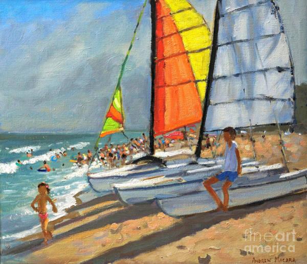 Macara Wall Art - Painting - Sailboats Garrucha Spain  by Andrew Macara