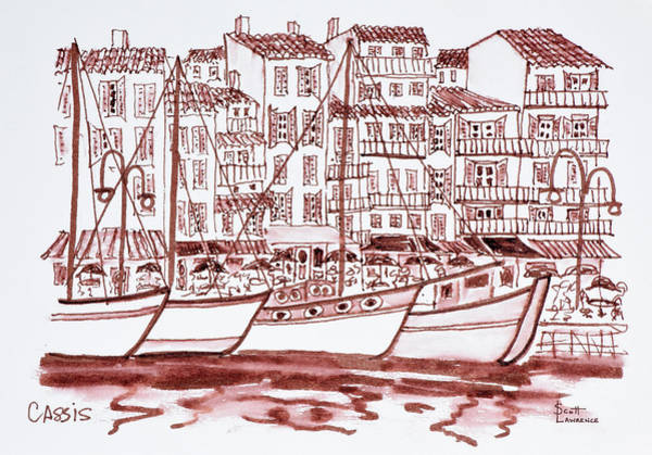 Ink Sketch Photograph - Sailboats Moored In The Harbor, Cassis by Richard Lawrence