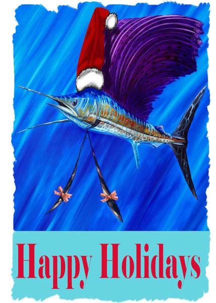 Digital Art - Sailfish Card by Steve Ozment