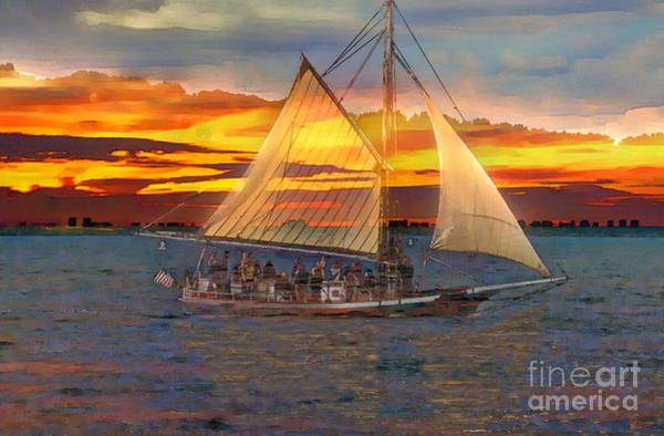 Photograph - Sailing At Sunset by Jeff Breiman