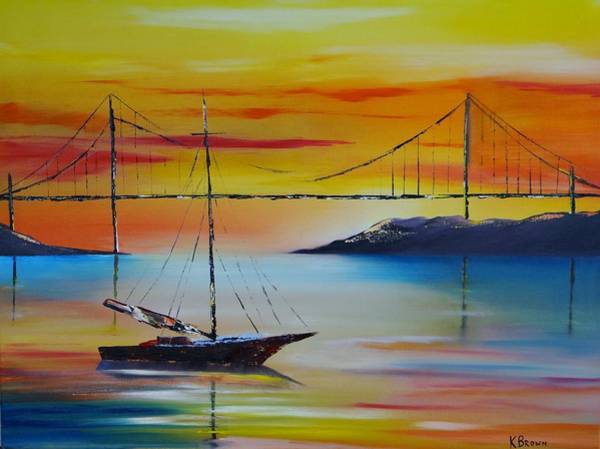 Sailing At Sunset Art Print