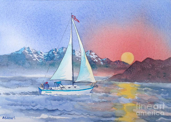 Impressionistic Sailboats Painting - Sailing At Sunset by Teresa Ascone