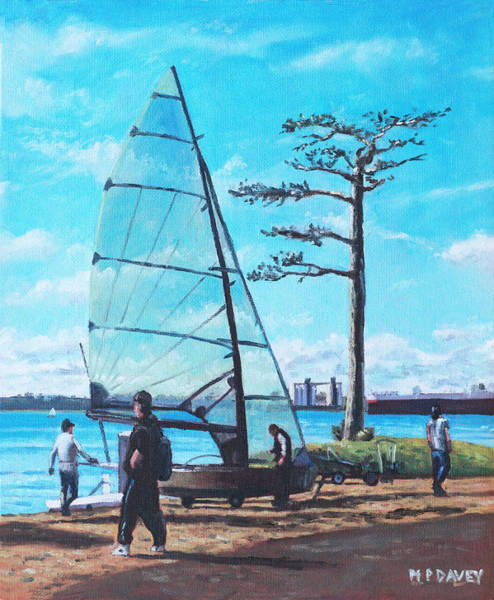 Wall Art - Painting - Sailing Boat Preparation At Weston Shore Southampton by Martin Davey