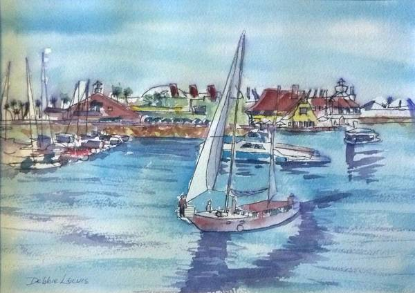 Painting - Sailing By Shoreline Village by Debbie Lewis