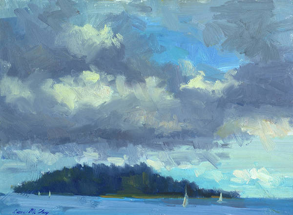 South Pacific Painting - Sailing by Diane McClary