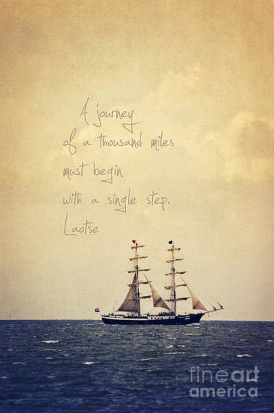 Photograph - Sailing II With A Quote by Angela Doelling AD DESIGN Photo and PhotoArt