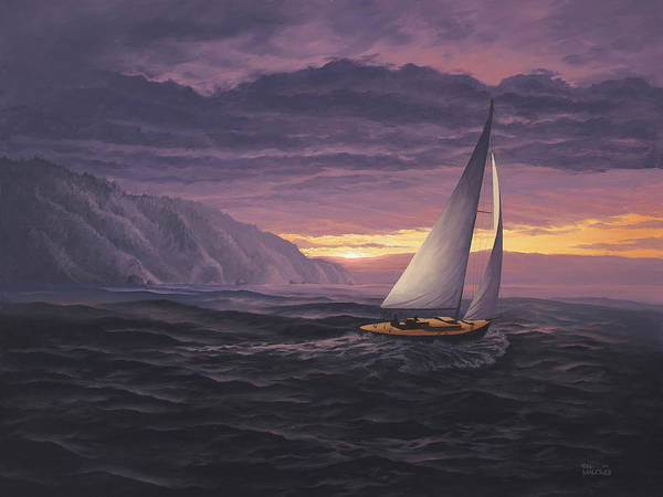 Big Wave Painting - Sailing In Paradise - Big Sur by Del Malonee