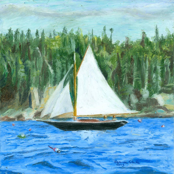 Drawing - Sailing In Southwest Harbor by Dominic White