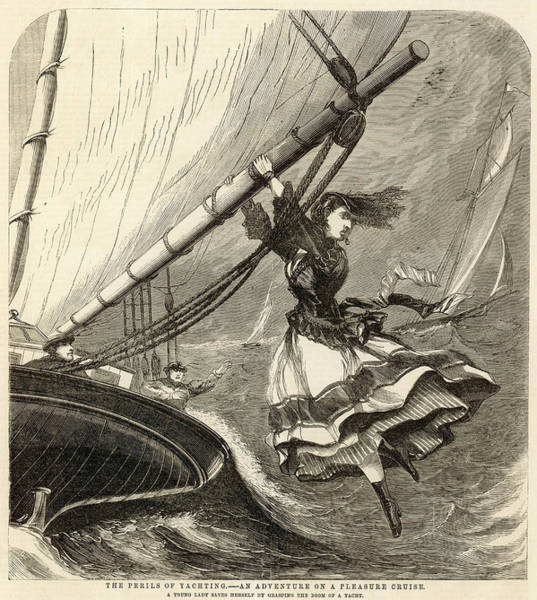 Wall Art - Drawing - Sailing In The Bristol  Channel, A Lady by Mary Evans Picture Library