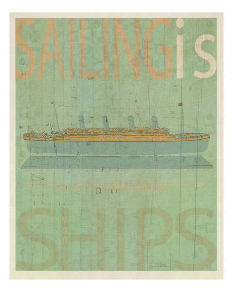 Aqua Drawing - Sailing Is Titanic Model by MGL Meiklejohn Graphics Licensing