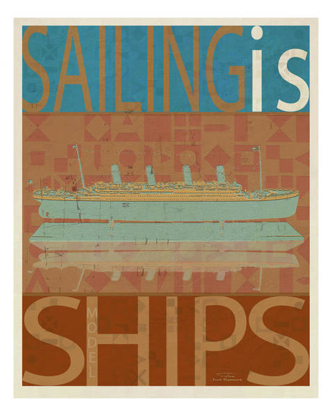 Aqua Drawing - Sailing Is Titanic Model On Brown by MGL Meiklejohn Graphics Licensing