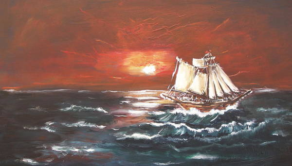 Painting - Sailing by Miroslaw  Chelchowski