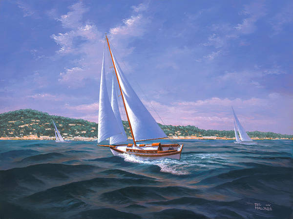 Monterey Bay Wall Art - Painting - Sailing On Monterey Bay by Del Malonee