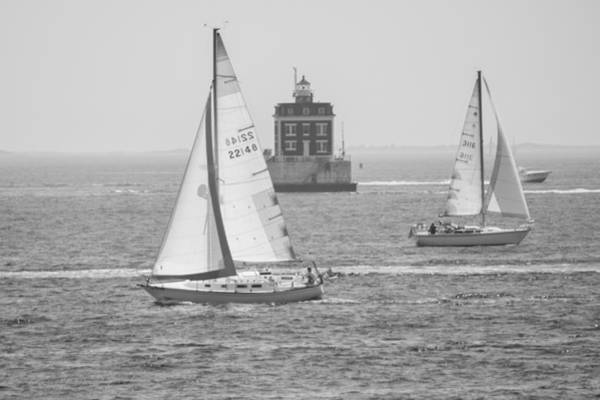 Photograph - Sailing Past Ledge Light - Black And White by Kirkodd Photography Of New England